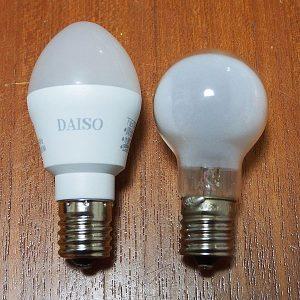 ミニクリプトンとダイソー版LEDミニ電球
